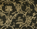Little Animals & Classical Star gold on black silk organza