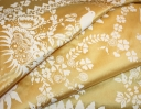 Bird Song ivory paste on yellow silk dupion