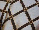 Icon Trellis charcoal & gold on grey silk dupion