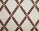 Icon Trellis chocolate & gold on ecru cotton sateen