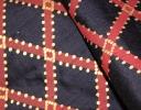 Icon Trellis pink & gold on navy silk dupion