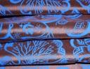 Jacobean blue on chestnut silk