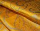 Jacobean silver gold on yellow silk dupion