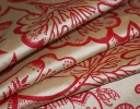 Jacobean red on cream silk dupion
