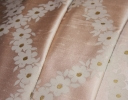 Lady Love Trellis ivory & gold on pale pink silk dupion