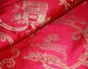 Little Animals gold on hot pink silk dupion
