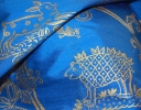 Little Animals gold on royal blue silk dupion