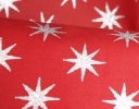 Medieval Star silver on red cotton sateen