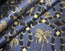 Palms charcoal & gold on navy silk