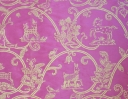 Little Animals gold on pink silk dupion