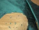 Pom Pom gold on green silk dupion