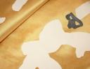 Grand Punchinellas ivory & charcoal on yellow silk dupion