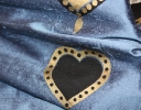 Valentine charcoal & gold on blue silk dupion