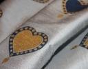Valentine navy & gold on grey silk dupion