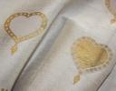 Valentine gold & beige on ivory silk dupion